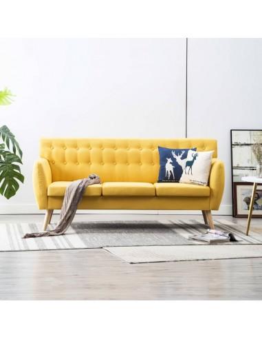Trivietė sofa, audinio apmušalas, 172x70x82cm, geltona   Sofos   duodu.lt