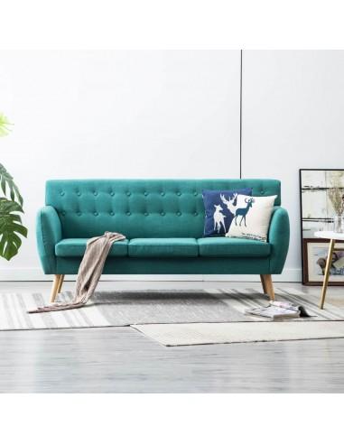Trivietė sofa, audinio apmušalas, 172x70x82cm, žalia | Sofos | duodu.lt