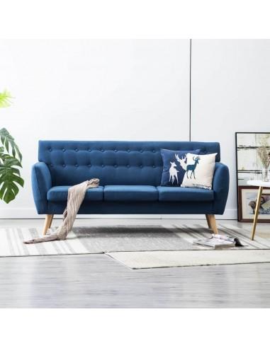 Trivietė sofa, audinio apmušalas, 172x70x82cm, mėlyna   Sofos   duodu.lt