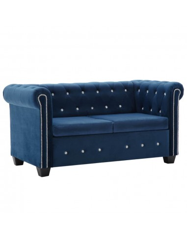 Dvivietė sofa, aksominis apmušalas, 146x75x72cm, mėlyna   Sofos   duodu.lt