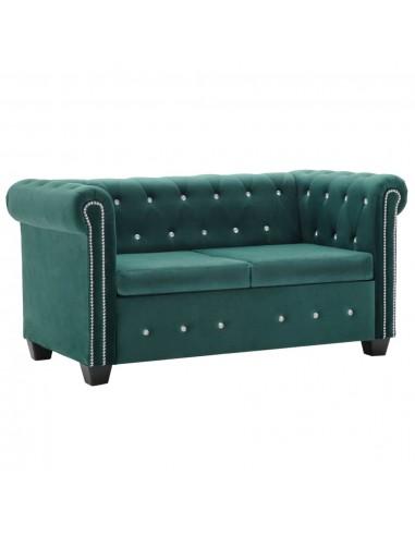 Dvivietė Chesterfield sofa, aksominis apmuš., 146x75x72cm, žal.   Sofos   duodu.lt