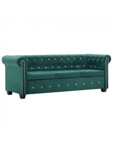 Triv. Chesterfield sofa, aksominis apmuš., 199x75x72cm, žalia   Sofos   duodu.lt