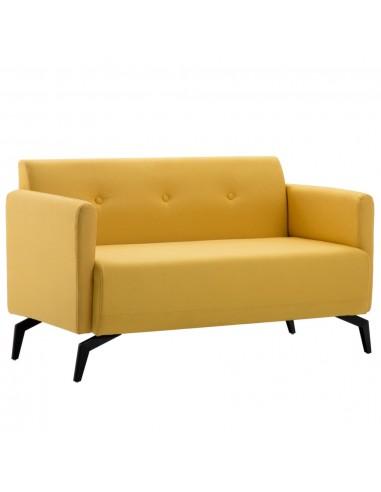 Dvivietė sofa, audinio apmušalas, 115x60x67cm, geltona | Sofos | duodu.lt