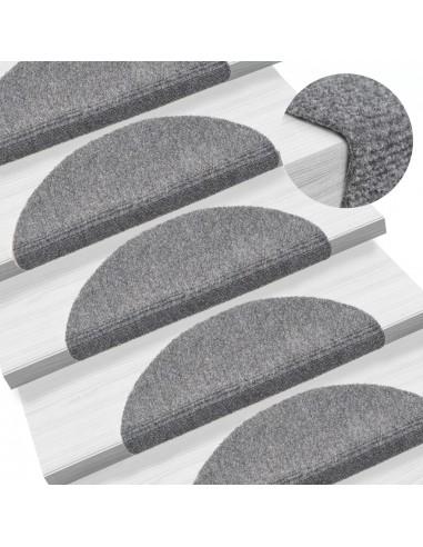 Lipnūs laiptų kilimėliai, 15 vnt., 54x16x4cm, šv. pilki   Kilimėliai   duodu.lt