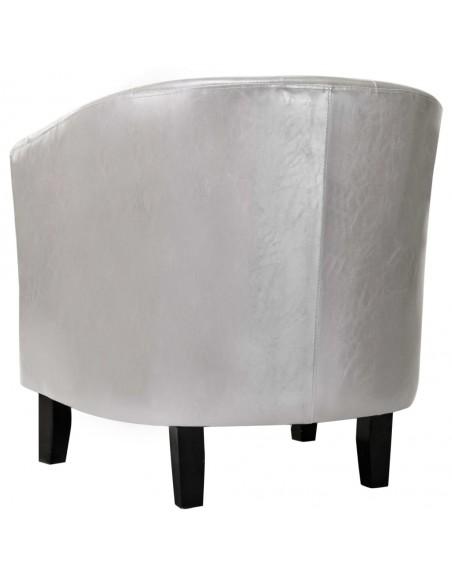 Fotelis su kėdute kojoms, dirbtinė oda, tamsiai rudas  | Foteliai, reglaineriai ir išlankstomi krėslai | duodu.lt
