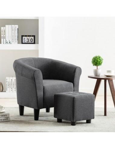 Krėslo ir taburetės rinkinys, 2 dalių, tams. pilkos sp., aud.  | Foteliai, reglaineriai ir išlankstomi krėslai | duodu.lt