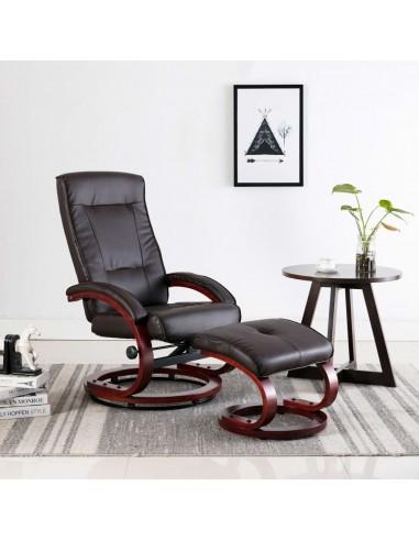 Atlošiamas krėslas su pakoja, rudos spalvos, dirbtinė oda   Foteliai, reglaineriai ir išlankstomi krėslai   duodu.lt