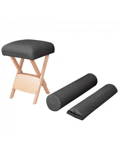 Taburetė masažui, juoda, 12cm storio sėdynė ir 2 atramos | Masažinės Kėdės | duodu.lt