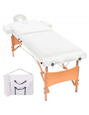 2 zonų sulankstomas masažinis stalas, 10 cm storio, baltas   Masažiniai Stalai   duodu.lt