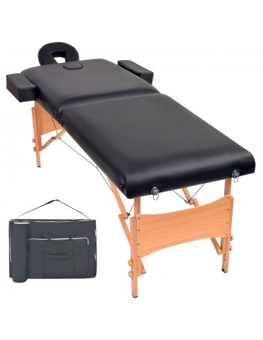 2 zonų sulankstomas masažinis stalas, 10 cm storio, juodas | Masažiniai Stalai | duodu.lt
