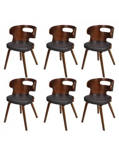 Valgomojo kėdės, 6 vnt., medinis rėmas, dirbtinė oda, rudos    Virtuvės ir Valgomojo Kėdės   duodu.lt