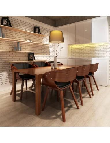 Valgomojo kėdės, 6 vnt., medinis rėmas, dirbtinė oda, rudos  | Virtuvės ir Valgomojo Kėdės | duodu.lt