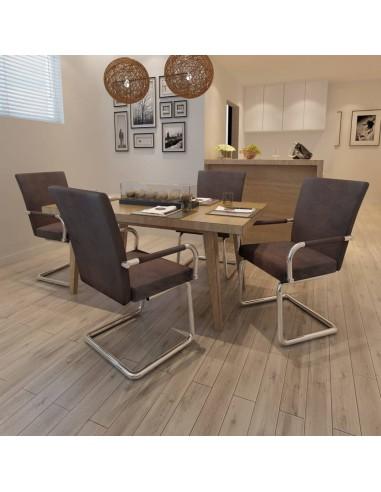 Valgomojo kėdės, 4 vnt., dirbtinė oda, rudos  | Virtuvės ir Valgomojo Kėdės | duodu.lt