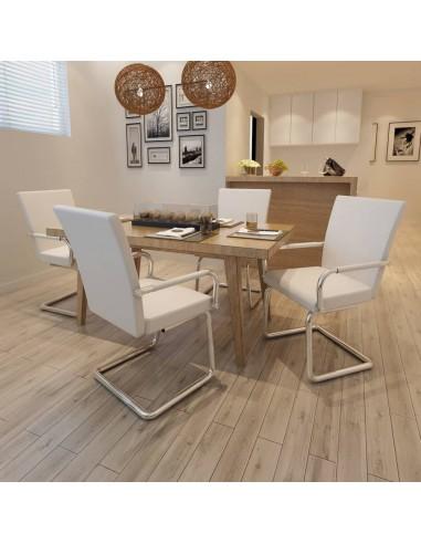 Valgomojo kėdės, 4 vnt., dirbtinė oda, baltos    Virtuvės ir Valgomojo Kėdės   duodu.lt