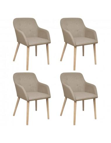 Valgomojo kėdės, 4 vnt., ąžuolo rėmas, audinys, smėlio spalvos    Virtuvės ir Valgomojo Kėdės   duodu.lt