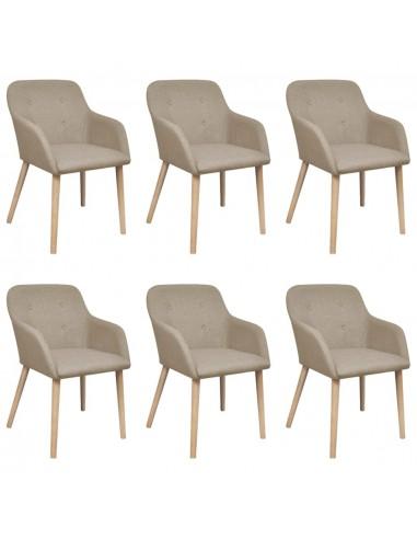 Valgomojo kėdės, 6 vnt., ąžuolo rėmas, audinys, smėlio spalvos  | Virtuvės ir Valgomojo Kėdės | duodu.lt
