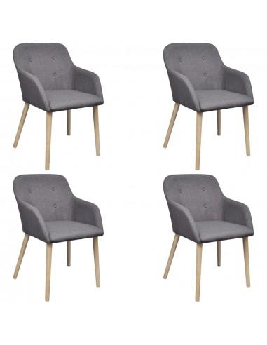 Valgomojo kėdės, 4 vnt., ąžuolo rėmas, audinys, tamsiai pilkos    Virtuvės ir Valgomojo Kėdės   duodu.lt