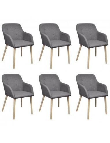 Valgomojo kėdės, 6 vnt., ąžuolo rėmas, audinys, tamsiai pilkos  | Virtuvės ir Valgomojo Kėdės | duodu.lt
