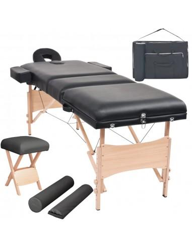 3 zonų sulankst. masaž. stalo ir kėdės komp., 10cm stor., juod. | Masažiniai Stalai | duodu.lt