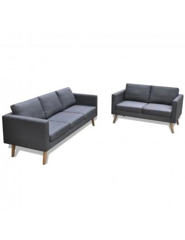 Sofų komplektas, 2-vietė ir 3-vietė, audinys, tamsiai pilkas  | Sofos | duodu.lt