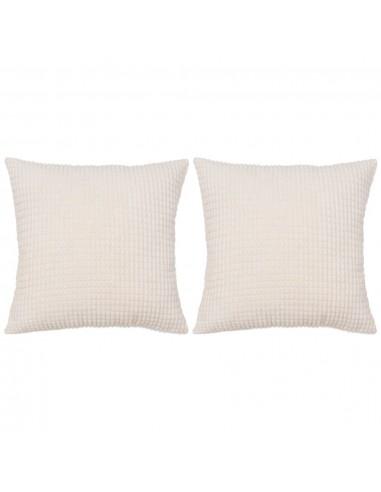 Pagalvėlių rinkinys, 2 vnt., veliūras, 45x45cm, balta spalva | Dekoratyvinės pagalvėlės | duodu.lt