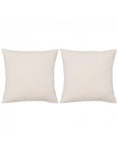 Pagalvėlių rinkinys, 2vnt., veliūras, 60x60cm, balta spalva   Dekoratyvinės pagalvėlės   duodu.lt