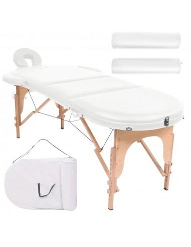 Sulankst. masažinis stalas, 10cm, su 2 atram., ovalas, baltas  | Masažiniai Stalai | duodu.lt