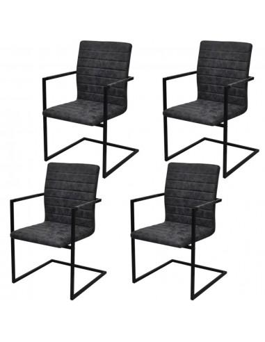 Valgomojo kėdės, 4 vnt., gembės dizainas, juodos    Virtuvės ir Valgomojo Kėdės   duodu.lt