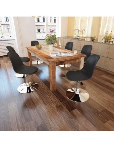 Valgomojo kėdės, 6 vnt., reg. aukštis, pasukamos, juodos  | Virtuvės ir Valgomojo Kėdės | duodu.lt