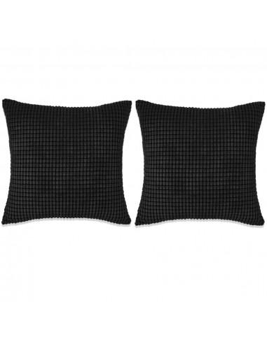 Pagalvėlių rinkinys, 2vnt., veliūras, 60x60cm, juoda spalva | Dekoratyvinės pagalvėlės | duodu.lt