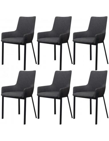 Valgomojo kėdės, 6 vnt., audinys, tamsiai pilkos   Virtuvės ir Valgomojo Kėdės   duodu.lt