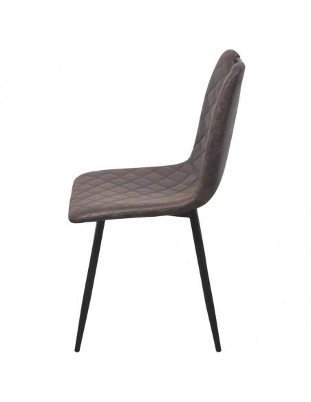 Valgomojo kėdės, 6 vnt., dirbtinė oda, rudos | Virtuvės ir Valgomojo Kėdės | duodu.lt