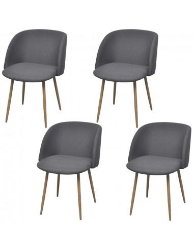 Valgomojo kėdės, 4 vnt., audinys, tamsiai pilkos | Virtuvės ir Valgomojo Kėdės | duodu.lt
