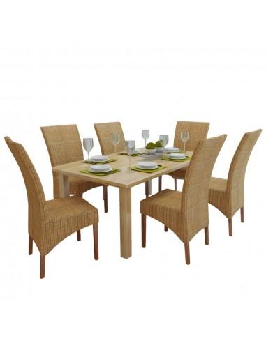 Valgomojo kėdės, 6 vnt., ratanas, rudos | Virtuvės ir Valgomojo Kėdės | duodu.lt