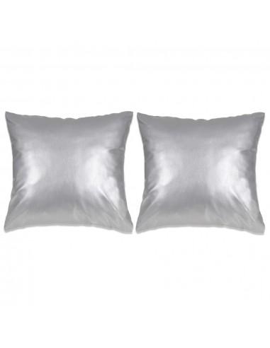 Pagalvėlių rinkinys, 2vnt., PU, 60x60cm, sidabro spalvos   Dekoratyvinės pagalvėlės   duodu.lt
