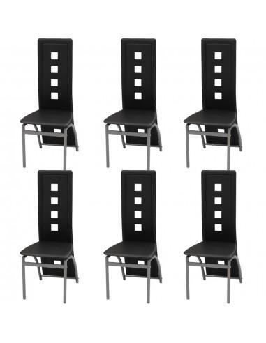 Valgomojo kėdės, 6 vnt., dirbtinė oda, juodos | Virtuvės ir Valgomojo Kėdės | duodu.lt