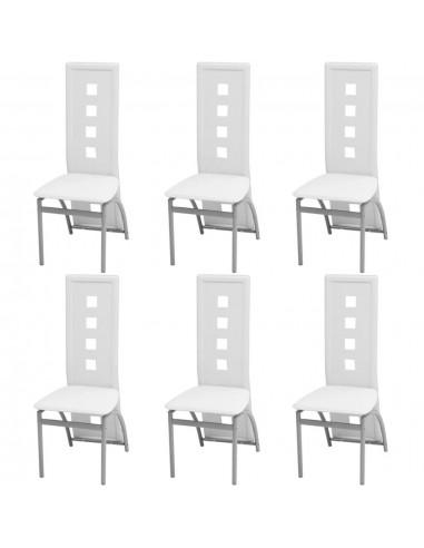 Valgomojo kėdės, 6 vnt., dirbtinė oda, baltos   Virtuvės ir Valgomojo Kėdės   duodu.lt