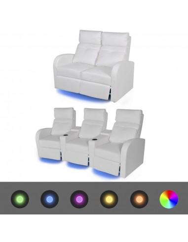 Krėslų reglainerių komplektas su LED, dirbtinė oda, baltas  | Sofos | duodu.lt