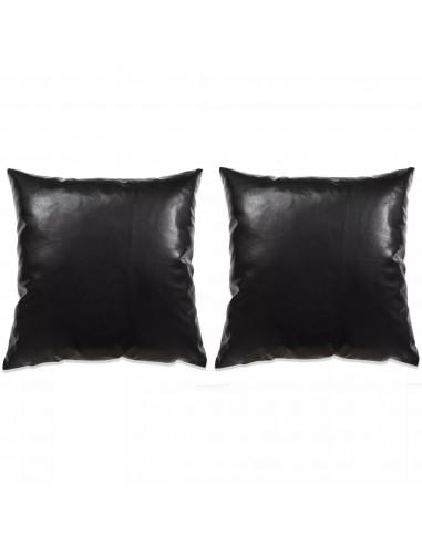 Pagalvėlių rinkinys, 2vnt., PU, 45x45cm, juodos spalvos | Dekoratyvinės pagalvėlės | duodu.lt