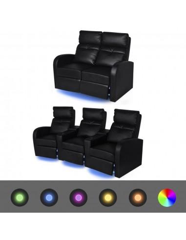 Krėslų reglainerių komplektas su LED, dirbtinė oda, juodas  | Sofos | duodu.lt