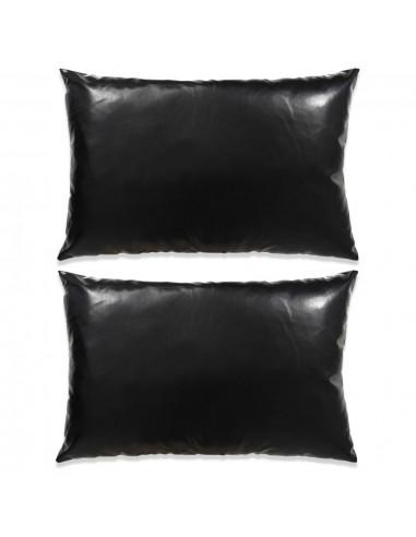 Pagalvėlių rinkinys, 2vnt., PU, 40x60cm, juodos spalvos   Dekoratyvinės pagalvėlės   duodu.lt