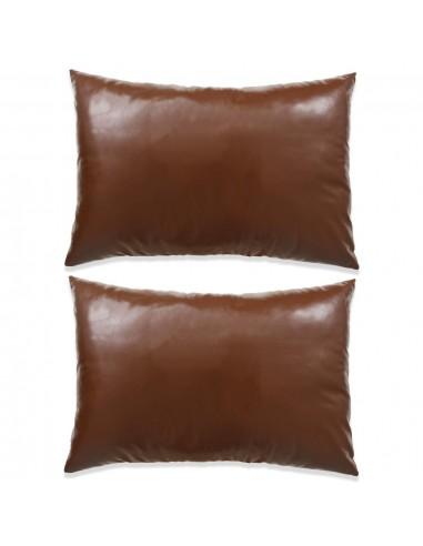 Pagalvėlių rinkinys, 2vnt., PU, 40x60cm, rudos spalvos   Dekoratyvinės pagalvėlės   duodu.lt