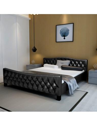 Dvigulė lova su čiužiniu dirbtinė oda, juoda, 180x200 cm  | Lovos ir Lovų Rėmai | duodu.lt