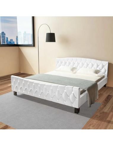 Dvigulė lova su čiužiniu, dirbtinė oda, balta, 180x200cm | Lovos ir Lovų Rėmai | duodu.lt