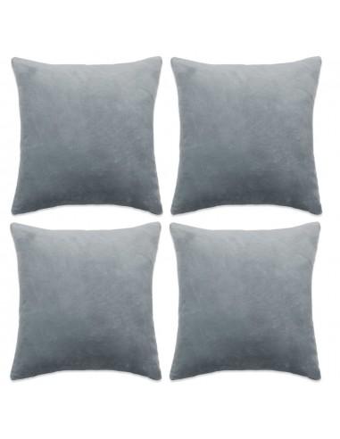 Pagalvėlių užvalkalai, 4 vnt., veliūras, 80x80cm, pilki  | Dekoratyvinės pagalvėlės | duodu.lt