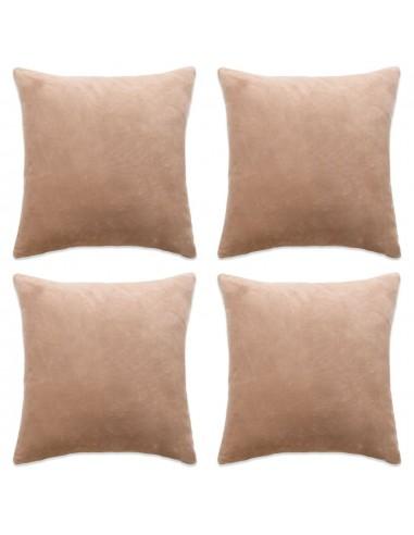Pagalvėlių užvalkalai, 4vnt., veliūras, 50x50cm, smėlio sp.    Dekoratyvinės pagalvėlės   duodu.lt
