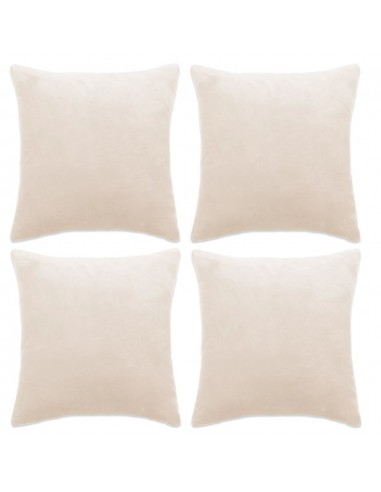 Pagalvėlių užvalkalai, 4 vnt., veliūras, 40x40 cm, balkšva sp.   Dekoratyvinės pagalvėlės   duodu.lt