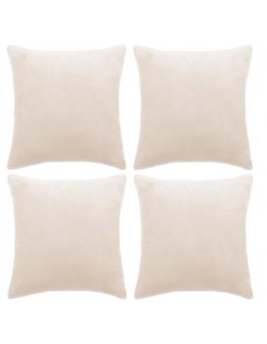 Pagalvėlių užvalkalai, 4 vnt., veliūras, 80x80cm, balkšva sp.   Dekoratyvinės pagalvėlės   duodu.lt