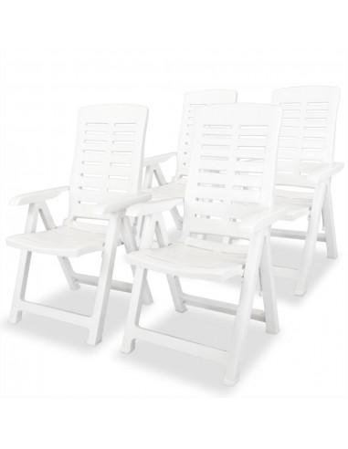 Atlošiamos sodo kėdės, 4vnt., 60x61x108cm, plastikas, balta sp.   Lauko Kėdės   duodu.lt