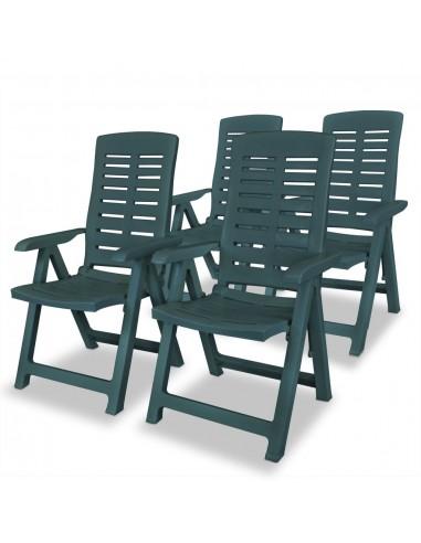 Atlošiamos sodo kėdės, 4vnt., 60x61x108cm, plastikas, žalia sp.   Lauko Kėdės   duodu.lt